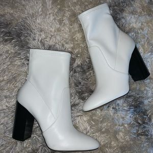 White faux leather Aldo booties. Never worn